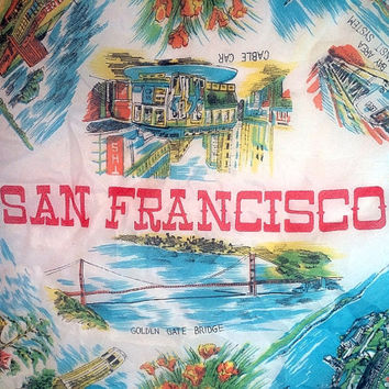 San Francisco Tourist Scarf Travel Tie On a Purse Sheer Red White Alcatraz Chinatown Womens Scarves Soaring Hawk Vintage Free US Shipping