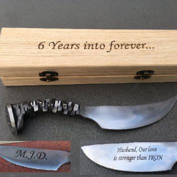 Iron gift for him, mens gifts, engraved knife, railroad spike knife, iron anniversary, knife for groomsman, knife gifts, knife gift box, axe