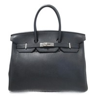HERMES Birkin 35 Handbag Chevre leather Black / hand bag Used Vintage Used Women
