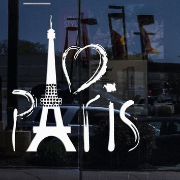 Window and Wall Sticker Paris Eiffel Tower France Love Romantic Travel Europe Decor Unique Gift (z706w)