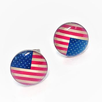 ON SALE - American Flag Enamel Button Stud Earrings