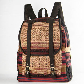 Ethnic Backpack Naga Tribal Hand Woven Asian Traditional Native Handmade