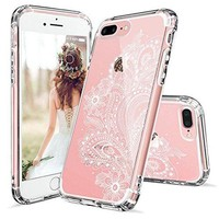 ONETOW iPhone 7 Plus Case, iPhone 8 Plus Case, iPhone 7 Plus Clear Case, MOSNOVO White Floral Henna Paisley Flower Clear Design Case with TPU Bumper Case Cover for iPhone 7 Plus (2016) / iPhone 8 Plus (2017)