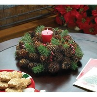 Pine Cone Wreath Votive Candle Holder