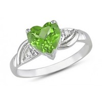 1 1/3 Carat Peridot & Diamond 10K White Gold Ring - Clearance