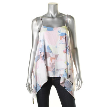 Vince Camuto Womens Printed Asymmetrical Tank Top