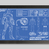Iron Man Suit Blueprints 16x24