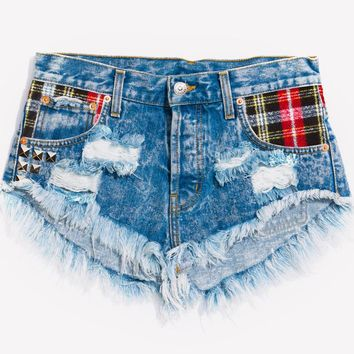 Brando Flannel Studded Babe Shorts