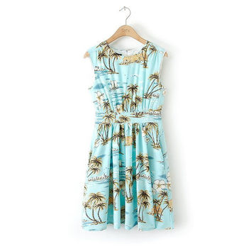 Summer Print Slim Sleeveless Vest Dress Skirt One Piece Dress [4917804292]