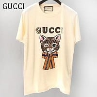 GUCCI Summer Sequins Letter Cute Cat Embroidery Short Sleeve T-Shirt Top Blouse