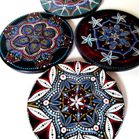 Colorful Coasters: Hand Painted Round Tile Coasters