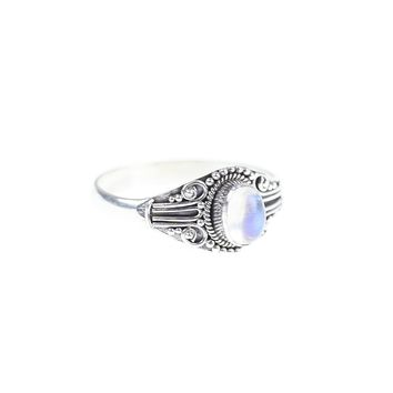 Noah. Antique Silver Rainbow Moonstone Ring