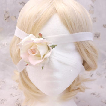 Broken Doll Pearl Bridal White Eye Patch and Headband