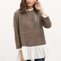 Brown White Long Sleeve Sweater