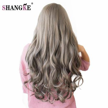 SHANGKE 26'' Long Wavy Colored Hair Wigs Heat Resistant Synthetic Wigs Natural Female Hair Pieces 7 Colors