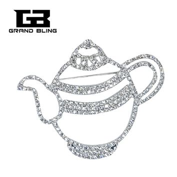 Clear Rhinestone Tea Pot Brooch Jewelry