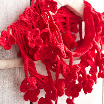 Red Floral Scarf, Egyptian Cotton Crochet Scarf, Poppy Red Loop Scarf