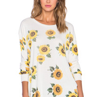 Wildfox Couture Contempo Sunflower Sweatshirt in Vintage Lace