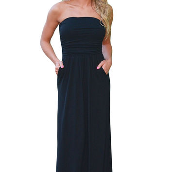 Solid Black Strapless pockets Maxi Dress