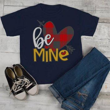 Kids Valentine's Day T Shirt Be Mine Shirts Plaid Heart Valentines Shirts Arrow Tee Toddler Boy's Girl's