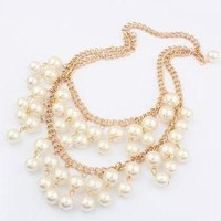2 Broke Girls Inspired Caroline's Gold and Faux Pearl Statement Necklace
