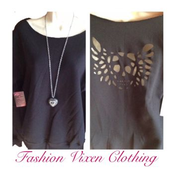 Cut Out Back Winged Skull Off the Shoulder Sweatshirt in Black, Gray or White XS S M L XL Plus Size 1x 2x 3x 4x 5x