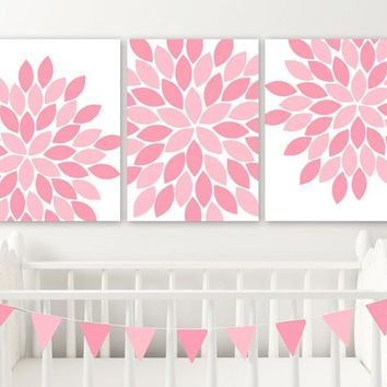 PINK Flower Wall Art, Baby Girl PINK Nursery Decor, Pink Floral Girl Bedroom Wall Art Decor, Pink Bathroom Artwork CANVAS or Prints Set of 3
