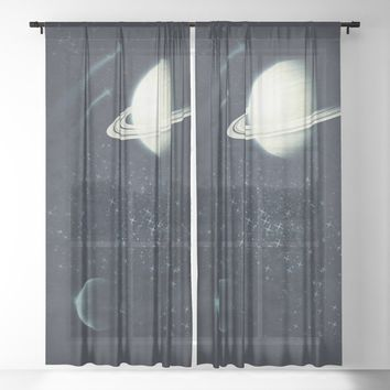 Deep Blue Space Sheer Curtain by duckyb