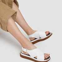 White Crossband Slingback Wedges | CHARLES & KEITH