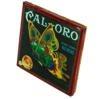 Cal-Oro Brand - Vintage Citrus Crate Label - Handmade Recycled Tile Coaster