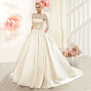 Vnaix W3099 Luxruy Ball Gown Lace Wedding Dresses 2016 Satin With Jacket See Though 3/4 Sleeves Sweep Train Bridal Wedding Gown