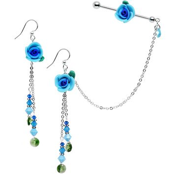Aqua Rose Industrial Chain Earring Set Created with Swarovski Crystals