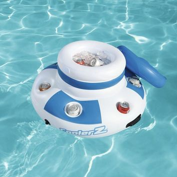 Dia 70cm Inflatable Round Floating Cooler With 6-hole Cup Holders Swimming Pool Float Inflatable Water Fun Toys Game