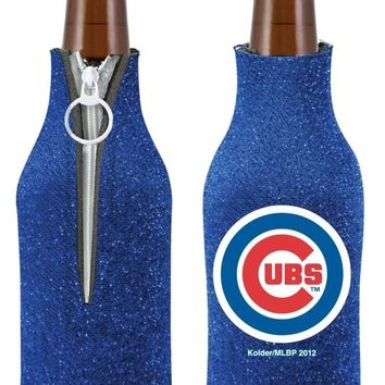 MLB Chicago Cubs Glitter Bling Zip Up Insulator Bottle Holder Koozie Coozie