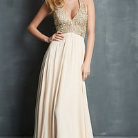 Beaded V-Neck Halter Gown by Night Moves