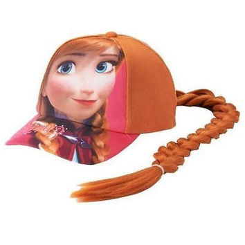 Disney Frozen Anna Girls Baseball Cap with Red Hair Wig Costume Hat-New!