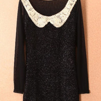 Black Contrast Mesh Yoke Long Sleeve Sequined Dress - Sheinside.com