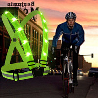 Outdoor Sport Running LED Lights Camping Cycling Flashlight Warning USB Charge Chest Lamp Straps Reflective Vest Safety Clothing