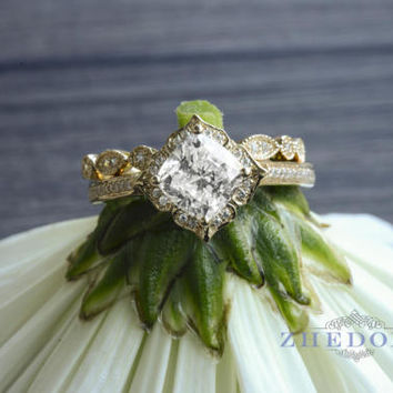 Gold Vintage Floral Cushion Cut Engagement Ring with Band in Solid 14k or 18k Yellow Gold, Bridal Set, Milgrain Eternity Wedding Band