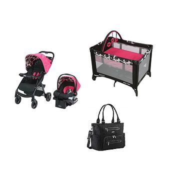 Graco Hot Pink Baby Gear Bundle, Stroller Travel System, Play Yard and Diaper Bag