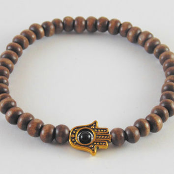 Free Shipping Mens Wood Bracelet Beaded Bracelet Hamsa Brown Onyx Stretch Elastic Gift for him Beads 6mm