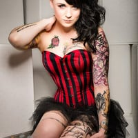 Meschantes Ready to Wear Black/Red Striped Corset Your Size Steam Punk Burlesque Pinup