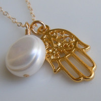 Hamsa Necklace with Pearl June Birthstone by 443Jewelry on Etsy