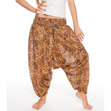 Women's summer cotton brown Indian Aladdin with paisley pattern, Extravagant pants, Loose bottom pants, Comfortable pants, Yoga clothes