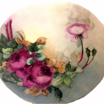 Authentic Antique Vintage PL Limoges Porcelain Hand Painted Plate Roses Signed By Stenburg 1910