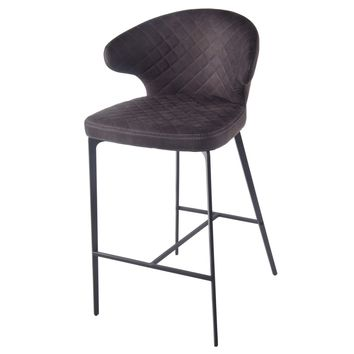 Bradley Fabric Bar Stool, Moonstone Hide Black