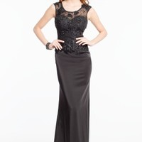 Illusion Neckline Dress with Lace Applique