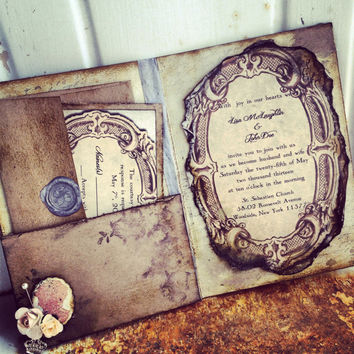 Pocketfold Wedding Invitations Vintage Book Victorian Pr
