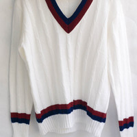 Vintage 1970's V-neck Tennis Sweater Size L. Made in Korea. Unisex