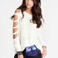 Revolt Cutout Sweater in Ivory - $48.00 : ThreadSence, Women's Indie & Bohemian Clothing, Dresses, & Accessories